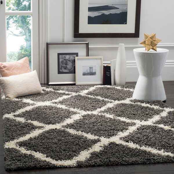 Safavieh Dallas Shag Dark Grey/ Ivory Trellis Rug - 8'6' x 12'