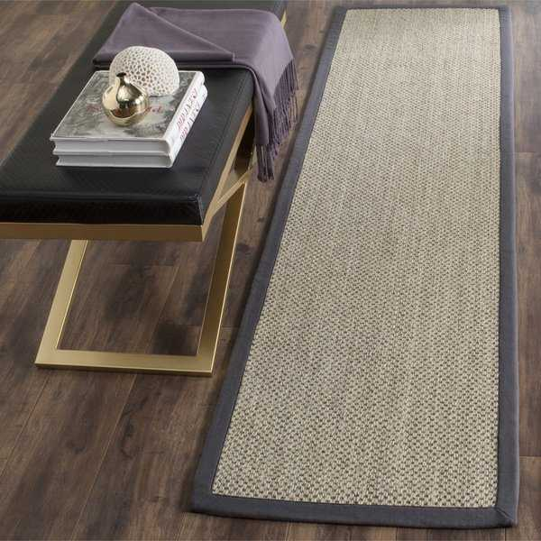 Safavieh Casual Natural Fiber Hand-Woven Resorts Natural / Grey Fine Sisal Runner Rug - 2'6 x 12'