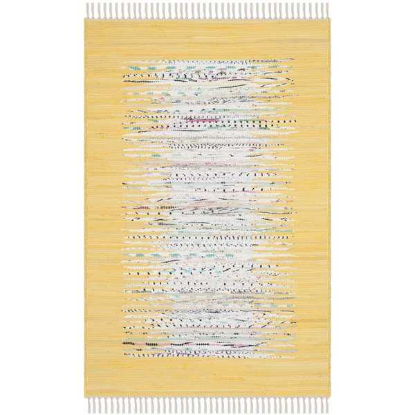 Safavieh Montauk Hand-Woven Flatweave Ivory/ Yellow Border Cotton Rug - 2'6' x 4'